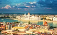 Descargar fondos de pantalla Budapest, Hungría, el edificio del Parlamento, el río Danubio, verano
