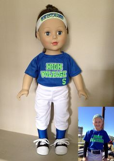 """Custom Softball Outfit fits 18"""" American Girl Doll"""