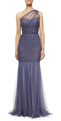 Mother of the Bride- Amsale One-Shoulder Draped Mermaid Gown in Periwinkle