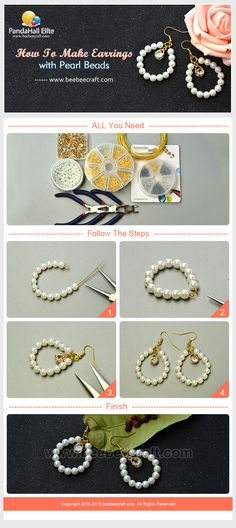 Like #pearlearrings? Here it shows how to make earrings with pearl beads