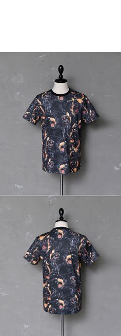 Tops :: Tees :: Multi Rottweiler Print Slim Round-Tee 513 - Mens Fashion Clothing For An Attractive Guy Look