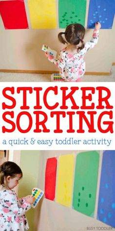 STICKER SORTING: Check out this fun indoor toddler activity using dot stickers. A quick and easy sorting activity that toddlers will love! Something easy to play on a rainy day! A great toddler math activity.