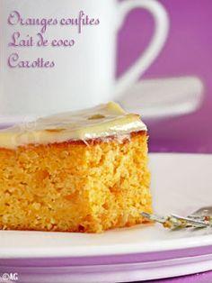 Gâteau aux carottes, lait de coco, écorces d'orange confite & glaçage au chocolat blanc