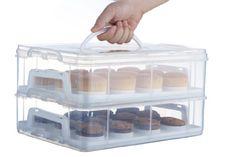 VonShef boite transport gateau 2 étages - Rangez jusqu'à 24 cupcakes ou 2 gros gâteaux