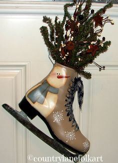 Ice skate snowman hand painted by countrylanefolkart on Etsy