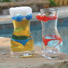 Bikini Beer Glass Set of Six  Get the party started right with the swimsuit model of the barware world. The set of two beer mugs hold 1/2 liter of ice-cold delicious beer.  http://www.creationsandcollections.com/Bikini-Beer-Glass-Set-of-Six  #Poolparty #pool #beer #beerlover #beerporn #slurp #pub #bar #cocktails #drinkup#glass #dealoftheday #baraccessories #forhim #forher#giftsforhousehold #Illhaveanother #bartender #ManCave #Collectibles#BeerMemorabilia #BarMemorabilia #ArtCollection