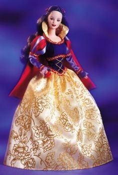 Snow White Barbie® - 5th doll in the Children's Collector Series, recalls the classic fairy tale about the fairest princess of them all. Enchanting in a pretty gown with puffed sleeves + a golden glitter-print skirt. The gown is made of a blue flocked corset-like bodice, accented by golden cord, red + golden braid. An attached royal blue short cape lined in red charmeuse completes her charming ensemble. Her jet-black hair is adorned with a red ribbon. In her hand, she holds the famed red…