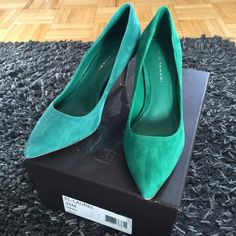 "Green Suede Elie Tahari Pointed Toe Heels Green Suede Elie Tahari Heels. 3"" Heel. Size 35, Fits Like a 5.5/6 Overall Very Good Condition. Worn Handful of Times, See Wear on Soles. PLEASE NOTE: This Was a Floor Sample. The Green Suede is Faded On Right Shoe, Like It Had Been Sitting in the Window, Left Shoe is More Green. It Looks Like You Could Be Wearing 2 Different Shades of Green. The Price is Discounted For That Reason. Took Pics to Show Difference. Please Ask Questions So You Know What…"