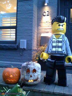 """Lego Minifigure """"Bad Guy"""" Homemade Halloween Costume"""