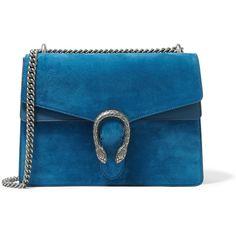 Gucci Dionysus large suede shoulder bag ($2,200) ❤ liked on Polyvore featuring bags, handbags, shoulder bags, blue, suede purse, blue suede purse, suede shoulder bag, structured handbag and suede handbags
