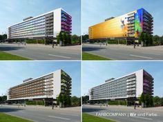 Farbvarianten für einen Gebäudekomplex.