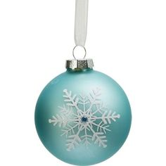 Light Blue Glass Bauble With Snowflake at Homebase
