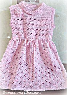 Платье для девочки спицами цвета камелии