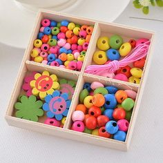 1box colorful wood beads kit smile #sunflower #necklace #bracelet diy kids craft,  View more on the LINK: http://www.zeppy.io/product/gb/2/191701492768/
