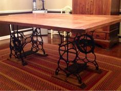 Farmhouse Table with Antique Sewing Machine base (functioning treadles!) awesome cutting table, but without storage Craft Room, Decor, Furniture, Table, Sewing Table, Farmhouse Diy, Machine Storage, Diy Farmhouse Table, Diy Furniture