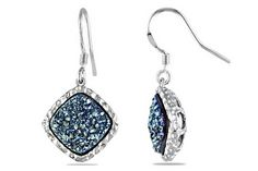 BLUE DRUSY STERLING SILVER DANGLE EARRINGS!  (Would go with my Blue Drusy ring!!!!!!!!!  Love it!!!)