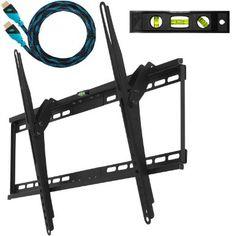 "Amazon.com: Cheetah Mounts APTMM2B Flush Tilt Dual Hook (1.3"" from wall) Flat Screen TV Wall Mount Bracket for 32-65 inch Plasma, LED, and L..."