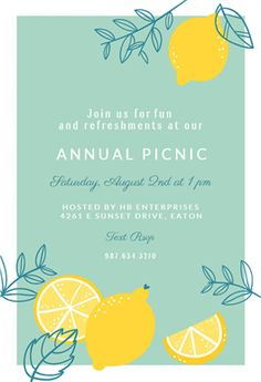 Lemons printable invitation template. Customize, add text and photos.  Print, download, send online or order printed!  #invitations #printable #diy #template #summer #pool #party #brunch #brunchinvitations #lunchinvitations #partyinvitations #freebrunchinvitations #printablebrunchinvitations #brunchinvitationtemplate  #invitations #printable #diy #freetemplate #greetingsisland