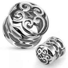 Pair (2) Surgical Steel Carved Hearts and Swirls Saddle Plugs with Holes Gauges