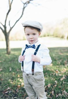 Suspenders, bowtie and pageboy cap, cute little dude // Christy Wilson Photography