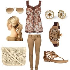 brown, tan, and cream by ameve on Polyvore