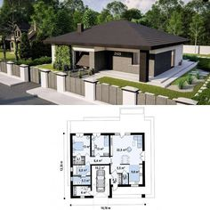 Modern Bungalow, Border Collie, Planer, Tiny House, House Plans, Sweet Home, Floor Plans, House Design, How To Plan