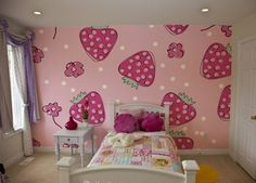 Transform your daughter's room into a strawberry den through this InkShuffle wall mural!