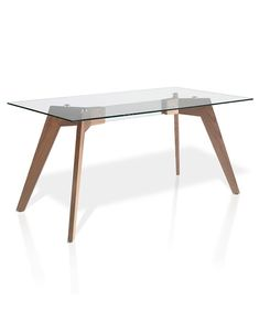 Mesa de Comedor moderna Kiel de madera y cristal