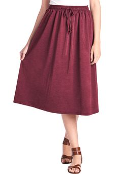 Elastic Bohemian Midi Skirt with Pockets