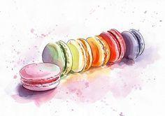 Aquarelle de macarons Estampe peinture à laquarelle