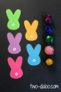 Quiet activities for two year olds - bunny tail color matching