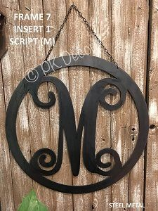 Metal Monogram Door Hanger - Metal Yard Sign Custom - Initial Garden Flag - STEEL METAL