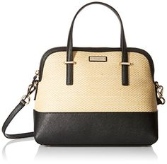 kate spade new york Cedar Street Straw Maise Satchel Bag, Natural/Black, One Size * You can find out more details at the link of the image.