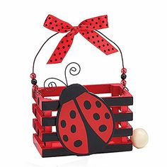 Adorable Ladybug With Hearts Wood Crate For Home Decor Party Favor Or Decoration -- Click image to review more details.