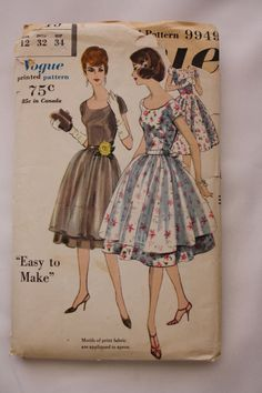 1960 One Piece Sheath Dress  and Apron Vogue 9949 Sewing Pattern by BluetreeSewingStudio on Etsy