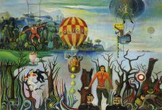 Josef Hlinomaz Naive Art, Painting, Flying Balloon, Painting Art, Paintings, Painted Canvas, Drawings
