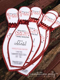 www.facebook.com/ByInvitationOnlyDesigns Bling bowling party invitations