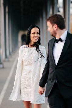 bride and groom walking in Paris