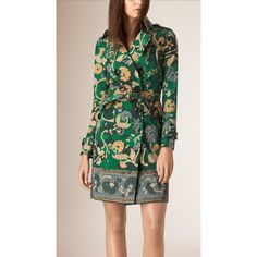 Burberry Floral Cotton Gabardine Trench Coat ($1,495) ❤ liked on Polyvore featuring outerwear, coats, gabardine coat, burberry, trench coat, floral trench coat and floral print coat