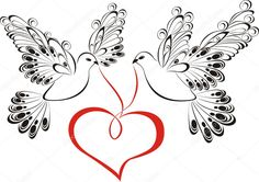 Srdce Stock vektory, Royalty Free Srdce Ilustrace - Page 7 Dove Tattoos, Tattoos Skull, Wrist Tattoos, Flower Tattoos, Tatoos, Dove Tattoo Meaning, Tattoos With Meaning, Wedding Doves, Wedding Cards