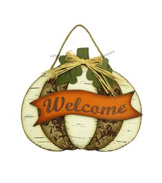 Fall For All Fall White Pumpkin Welcome Wall Hanging