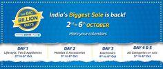 Flipkart Big Billion Days 2016 Diwali Sale Offers and Deals - Oct 2,3,4,5,6. Check out Discounts on Mobiles,Laptops,Tablets, Electronics on #BigBillionDays