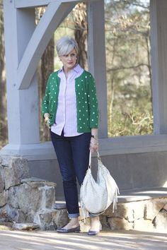 Not in these colors.........but love the stripe top & polka dot sweater idea.  And the glitzy shoes ~ A+!