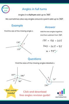 Angles in full turns or around a point summary. Add to your board to help revise it. Gcse Maths Revision, Maths Exam, Kids Math Worksheets, Math Resources, Math Formula Chart, Mathematics Geometry, Science And Technology News, Math Enrichment, Math Notes