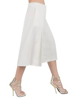 Choies Women's Black/White High Waist Plain Wide Leg Palazzo Capri Pants at Amazon Women's Clothing store: