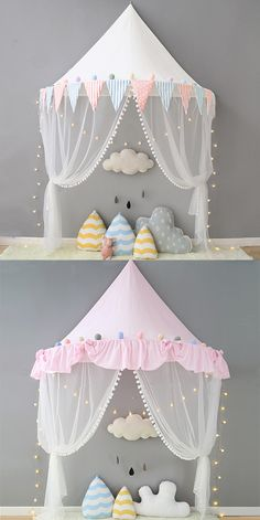Add an beautiful touch to any bedroom with a bed canopy. Canopies create a cute yet functional look that adds a unique layer of shelter, offering protection from mosquitoes without impeding airflow.