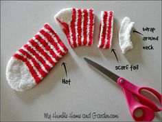 How To Make An Adorable Sock Snowman! Step by step directions for making your own sock snowman. Sock Snowman Craft, Sock Crafts, Snowman Crafts, Xmas Crafts, Christmas Projects, Fun Crafts, Christmas Diy, Christmas Decorations, Christmas Ornaments