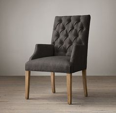 Bennett Parsons Upholstered Arm Chair in Fog Belgian Linen Dining Room Chair Slipcovers, Oak Dining Chairs, Side Chairs, Georgian Furniture, Love Chair, Fabric Armchairs, Ottomans, Upholstered Arm Chair, Single Sofa