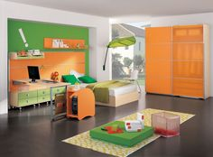 Bedroom laminated-table-with-green-drower-computer-table-with-cpu-holder-laminated-wood-single-bedroom-orange-laminated-wood-cupboard-yellow-motif-square-carpet-gray-marble-floor-yellow-chair-green-leaf-wall-leaf-green-pillow-and-blankets How To Plan an Amazing Bedroom that Grows with Little Child