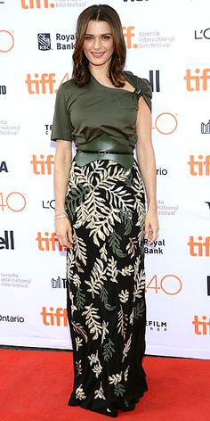 RACHEL WEISZ | in an asymmetrical green ensemble with a leaf motif at a Sept. 11 screening of The Lobster.